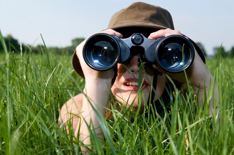 Girls with Binoculars on a Safari